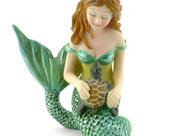 Miniature Fairy Garden Mermaid With Turtle