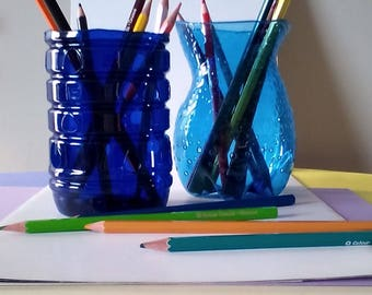 Pair of blue pencil holder/pair of blue pencil holders