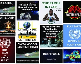 Flat Earth Memes & Maps vinyl Stickers (over 40)