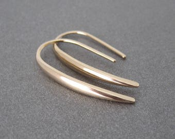 Gold line through 750 18 k earrings
