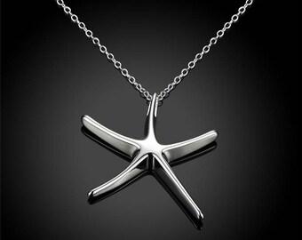 Starfish Necklace,Starfish Jewelry,Silver Starfish Necklace Pendant,Silver Starfish Jewelry,Fish Necklace,Star Fish Jewelry