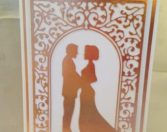 Blessings On Your Wedding - Handcrafted Greeting Card w/verse -  in Rose Gold  - Wedding Card - W/Heartfelt Messages