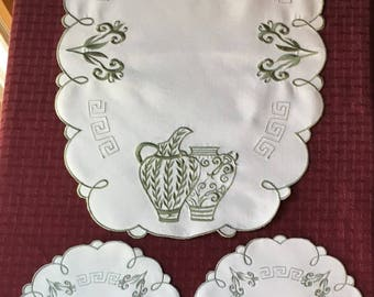 Matching Set of 3 Vintage Doilies with Water Pitchers and Planters
