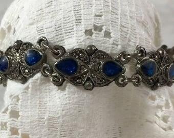 Vintage Silvertone Gem Link Bracelet with Hamsa Hand Clasp