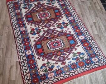 Oushak Rugs,Turkish vintageRug, area rug,Turkish carpet, home living, 81x134cm,, Pastel color, office decor, floor rugs, Rugs, Rug,