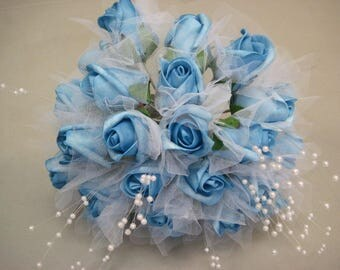 TURQUOISE Rose Buds with Pearls Bouquet Artificial Foam Flower Bush 695TQ