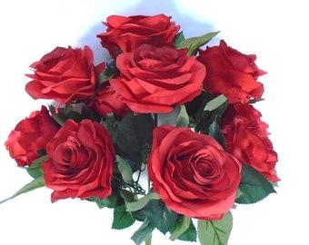 "Open Rose Bush 10 Artificial Silk Flowers 17"" Valentine Bouquet 664"