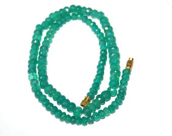 1' Strand Size 5-8mm Natural Green Onyx Faceted Beads Necklace-Green Onyx Rondelle Wholesale Gemstone Beads semi precious ombre beads