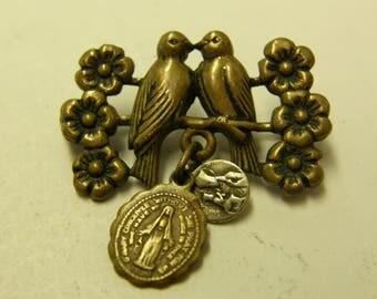 Antique Love Birds Religious Filigree Pendant
