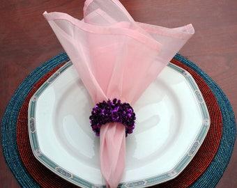 "Pink sheer napkins 20""x20"""
