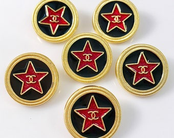 Sale - Set x 6 (20mm) Estate Sale Preowned Vintage Gold/Black/Red Star Metal Buttons - STUNNING