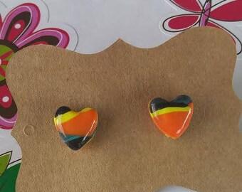 Polymer Clay, Orange/black/yellow, Heart, Stud Earrings, Resin