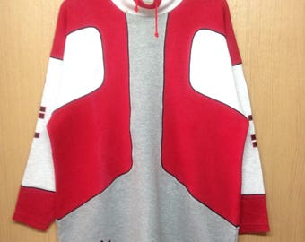 Rare !!! Vintage Adidas Trefoil Sweatshirt Big Logo Spellout Jumper Pullover Block Color Rap Tees Hip Hop Swag