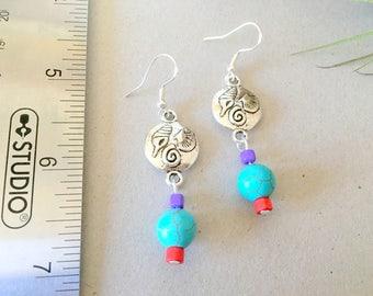 Turquoise earrings sea charm earrings seashell earrings bohemian earrings drop earrings boho earrings red earrings long earrings handmade