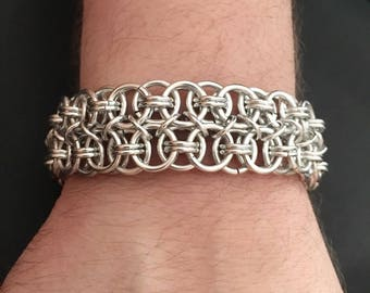 Chainmail Bracelet - Men's Helm Weave Chain in Bright Silver