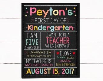 First Day of School Sign, School Chalkboard Sign, Kindergarten Sign, Chalkboard Sign, First Grade, First Day Chalkboard Print, Chalkboard