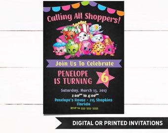 Shopkins Invitation, Shopkins Birthday Invitation, Shopkins Birthday, Girl Birthday Invitation, Birthday Invitation, Girl Invitations, 60