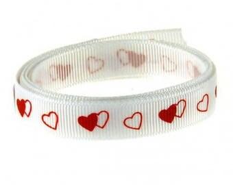 Rouleau de 20 M de Ruban Satin Linéa Blanc Imprimé Coeurs Rouge
