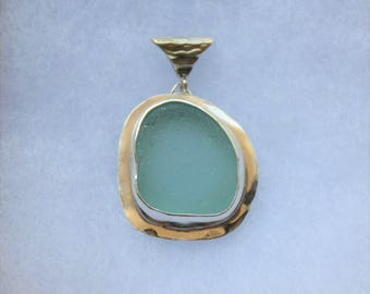 Turquoise Sea Glass Pendant Sterling Silver