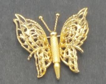Gold MONET Butterfly Brooch