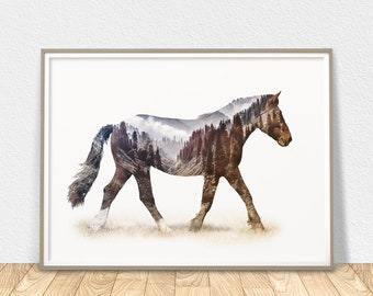 Horse Print - Modern Printable Wall Art, Horse Poster, Horse Lover Gift, Wild Horse Home Decor, Horse Photography Art, Equestrian Gift