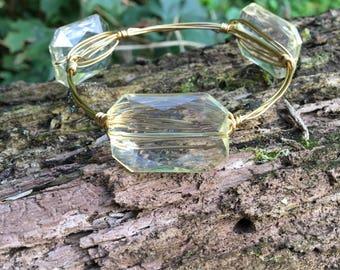 Champagne bead bangle stack bracelet
