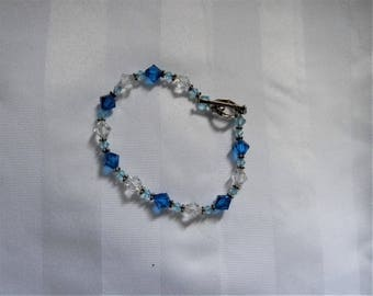 Beautiful Swavorski Crystal Bracelet in Tones of Blues & Sterling Silver