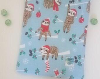 Christmas sloth book sleeve