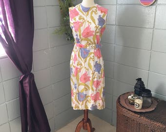 Vintage 1960's Floral Cotton Sun Dress
