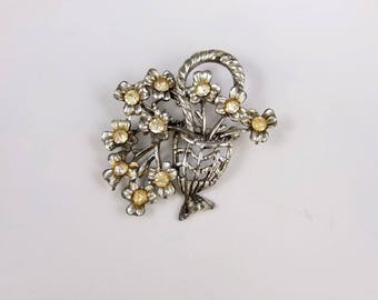 Vintage Flower Basket Brooch - Silver Tone Brooch With Clear Stones, Vintage Flower Brooch, Vintage Costume Jewellery