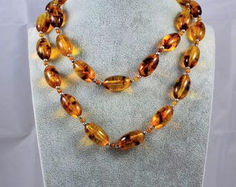 Vintage Amber Lucite Necklace - Long Necklace Of Large Oval Swirled Faux Amber Beads, Vintage Amber Bead Necklace, Costume Jewellery