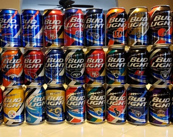 COMPLETE 2015 Budlight Limited Edition NFL Can Collection including 50th Superbowl Can!