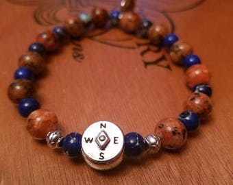 Jasper and Lapis Lazuli Bracelet with Silver Accents
