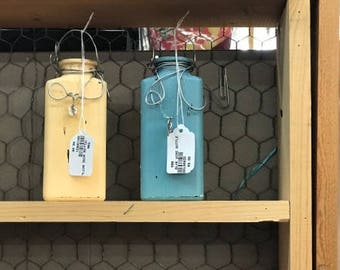 Decorated Chalk Painted Bottles - set of 2