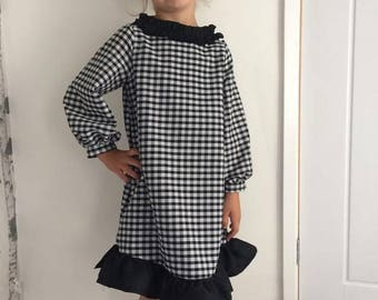 girls gingham dress, black and white checkered dress, girls long sleeve dress, frilly dress, ruffle collar dress, birthay girl, black dress