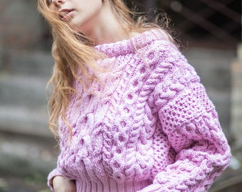 Pink short sweater cable knit jumper bulky knitted sweater braided women gift chunky knit jumper small winter pullover slouchy sweater wool