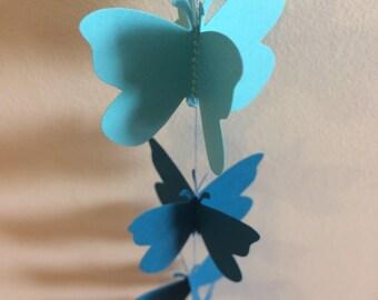 3D Butterfly paper garland , blue