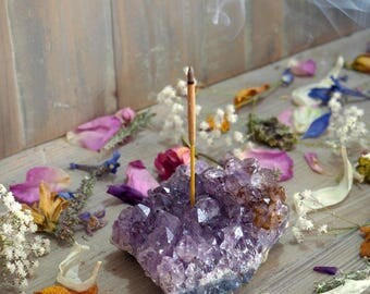 MADE TO ORDER Amethyst Incense Holder, Crystal Joss Stick Holder, Raw Druzy Incense Burner