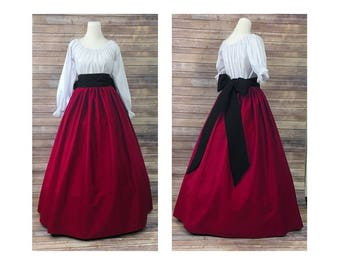 Skirt, Blouse and Sash - Red Renaissance Civil War Victorian Southern Belle Christmas Cosplay Medieval Pioneer Dickensonian Dress Costume