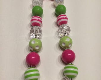 Girls Chunky necklace hot pink lime green clear