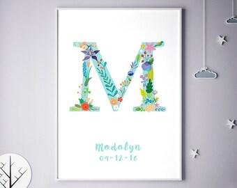 Monogram Art Print, Children Room, Nursery Name, Alphabet, Marie, Michelle, Mia, Melissa, Typography, Typographic Print, Birthday
