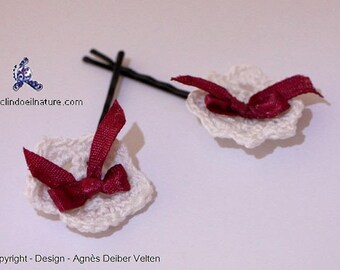 Pins. Adorable little crocheted white flowers and Red bows