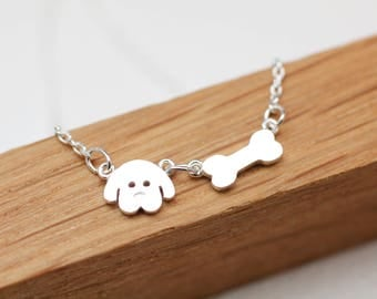 Puppy and Bone Necklace, Dog Bone necklace, Dog necklace