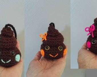 Neon pink Brown crochet 9 centimeters high poop!