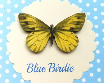 Butterfly brooch yellow butterfly brooch pin gifts for her butterfly jewlery insect jewelry nature jewelry butterfly brooch pin