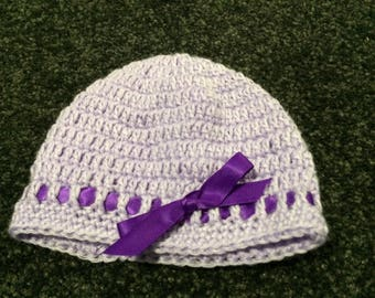 Light purple baby bonnett/beanie
