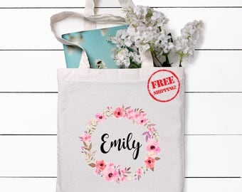 Flower Girl Tote Bag Personalized Tote bag Bridesmaid Tote Bag Wedding Tote Bag Natural Tote Bag Flower Girl Bag Tote Bag
