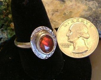 Ammolite Ring Sterling Silver OOA Utah Gem Ammolite Statement Ring Size 9 Statement Jewelry Bright Red Fire   170G