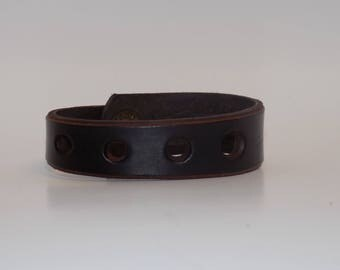 Narrow Leather Cuff - Men's Leather Cuff - Women's Leather Cuff - Leather Jewelry - Leather Bracelet - Asymmetrical Leather Cuff