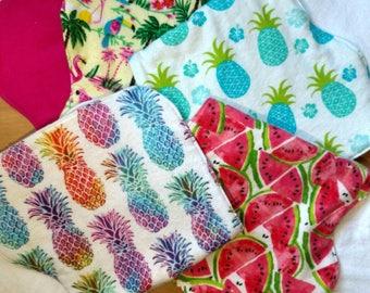 burp cloth / burp cloth set / girls burp cloth / boy burp cloth /pineapple burp cloth/watermelon burp cloth/ flamingo burp cloth